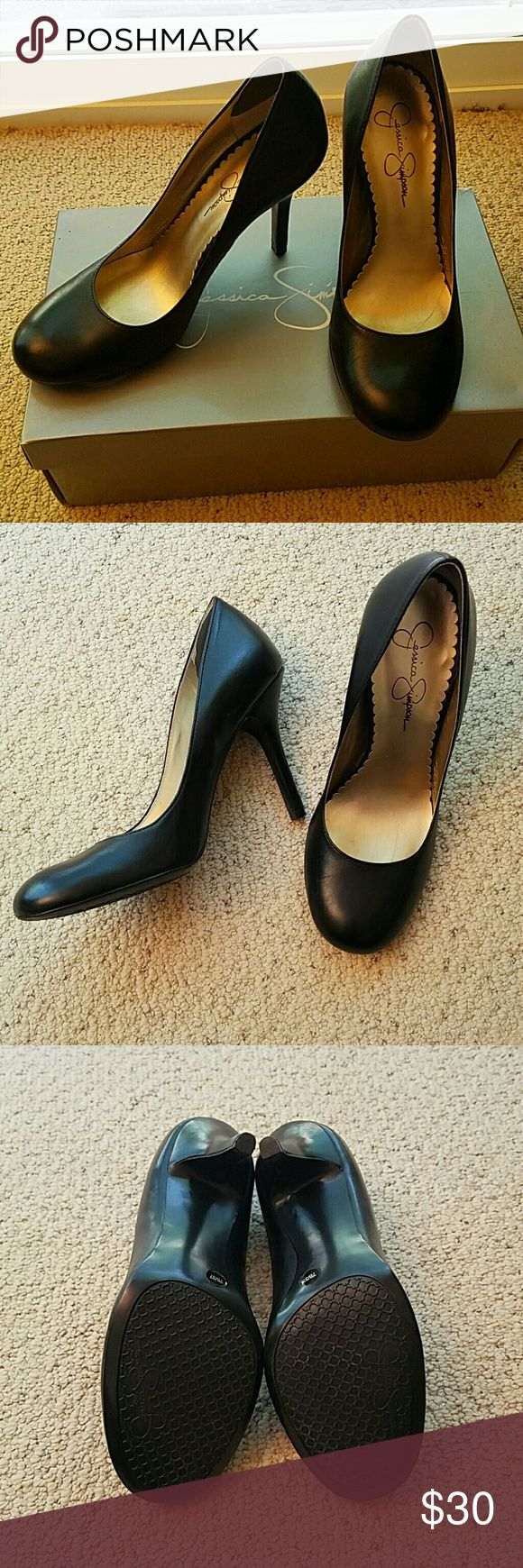 Jessica Simpson Black Pumps Excellent used condition!! Worn twice for job interviews. Black leather. Size 7 M. Brought at Nordstrom. Jessica Simpson Shoes Heels