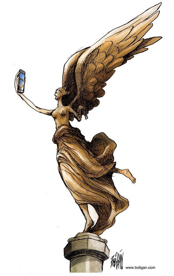 """INDEPENDENCE DAY """"SELFIE""""   Sep/15/14 Angel Boligan - El Universal, Mexico City, www.caglecartoons.com - La selfie de la independencia / COLOR - English - mexico, ángel, independencia, iphone, selfie, monumento, festejos"""