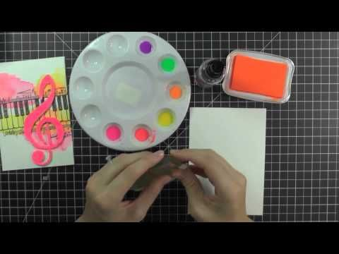 Savanna O'Gwynn shows us Watercoloring Stampendous Images with Radiant Neon Inks - YouTube