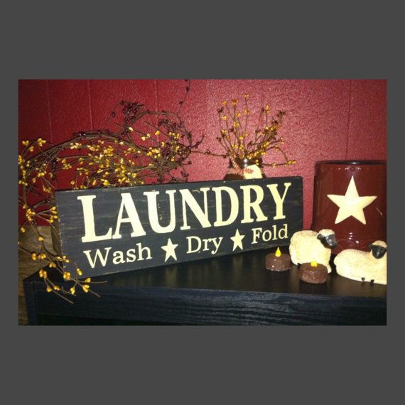 Laundry Room Sign Primitive Laundry Sign by CountryClutterHome