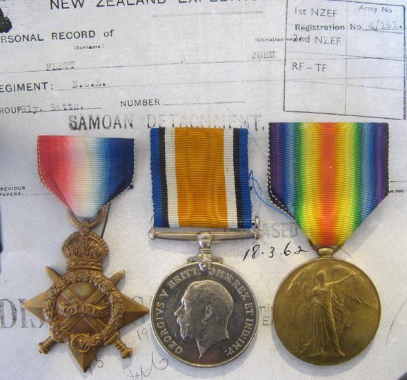 1914-15 Star Trio To:4/161 SPR J. Flett N.Z.E.F. Samoan Detachment.
