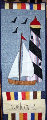 Welcome Banner with Lighthouse and Sailboat   PutmanLakeDesigns - Quilts on ArtFire #bmecountdown