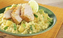 Curry-Risotto mit Ananas und Putenbrustfilet