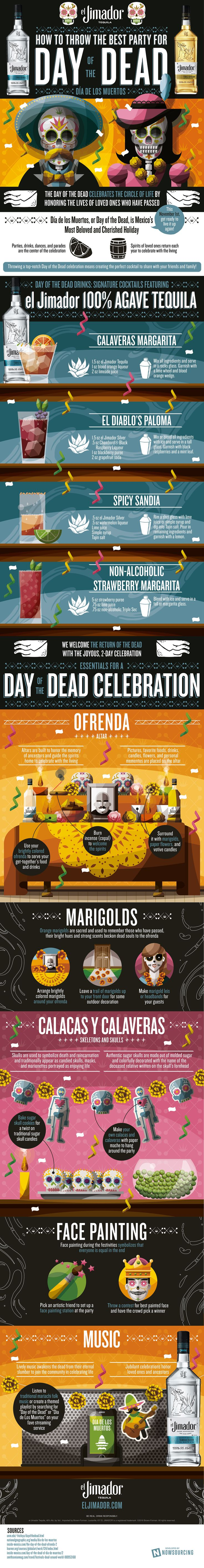 Mix it up (no pun intended) and celebrate Day of the Dead with Mexico and el Jimador Tequila. Here's everything you need for your Day of the Dead themed party from DIY altar decorations, drink and make up ideas to traditional sugar skull decor.