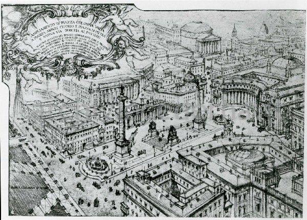 Piazza Colonna in Rome, envisioned by Brasini in his Progetto per il Foro Mussolini (1925)