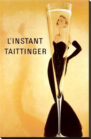 Vintage Grace Kelly Instant Taittinger Champagne Giclee Art with Mounted Canvas Option on Etsy, $14.95