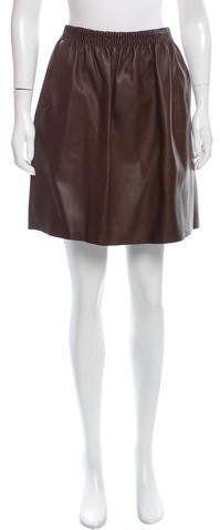 Burberry Leather A-Line Skirt