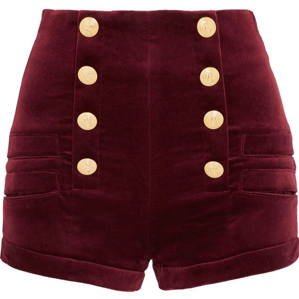 Pierre Balmain Velvet shorts (830 CAD) ❤ liked on Polyvore featuring shorts, burgundy, burgundy shorts, loose fit shorts, high-rise shorts, slim shorts and pierre balmain