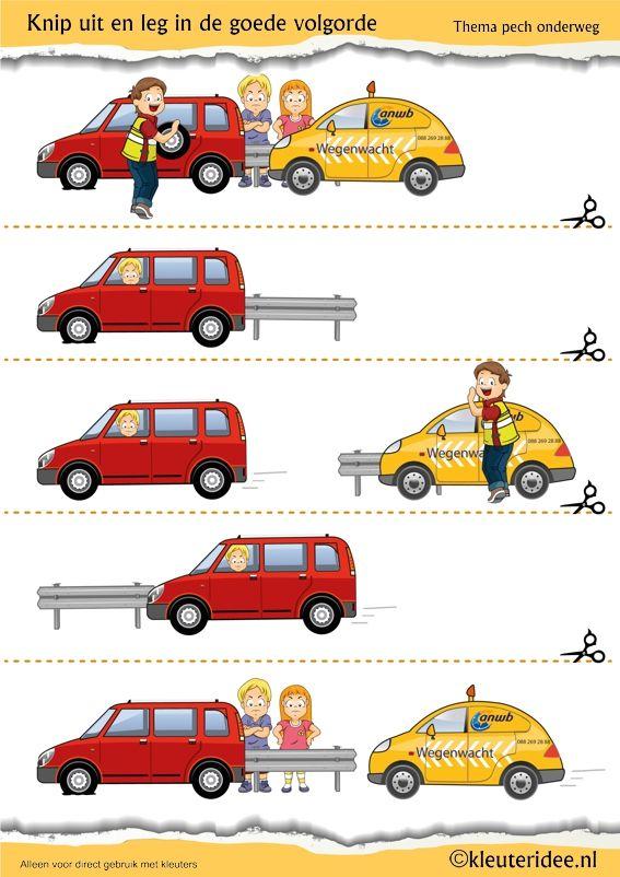 Logische volgorde wegenwacht voor kleuters, juf Petra van kleuteridee, thema pech onderweg, free printable.