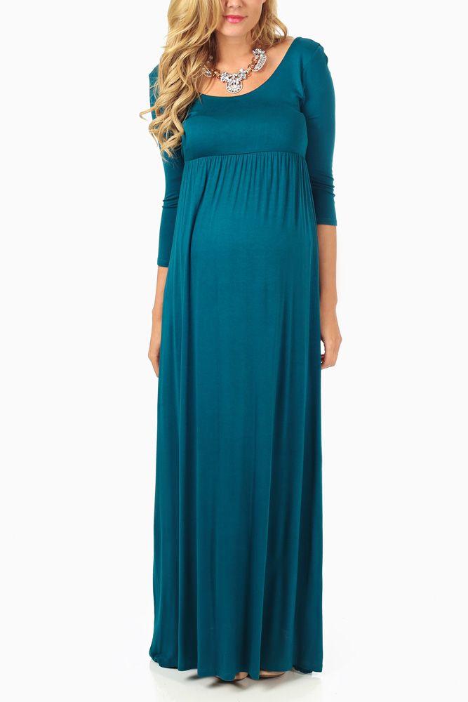 Teal-3/4-Sleeve-Maternity-Maxi-Dress