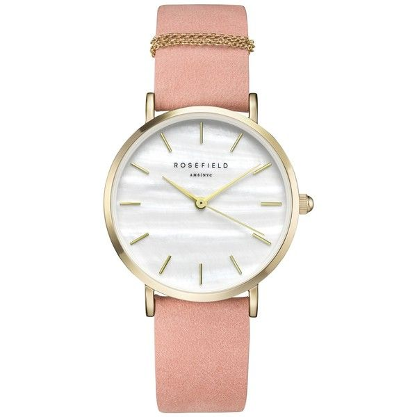 ROSEFIELD WBPG-W72 Women's The West Village Leather Strap Watch (3 130 UAH) ❤ liked on Polyvore featuring jewelry, watches, white watches, pink watches, chain jewelry, slim watches and water resistant watches