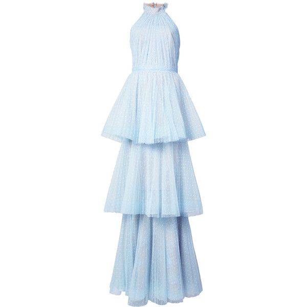 Marchesa Notte tiered tulle halter gown (16.327.280 IDR) ❤ liked on Polyvore featuring dresses, gowns, blue, long tulle dress, blue ball gown, long blue evening dress, blue halter dress and long ball gowns