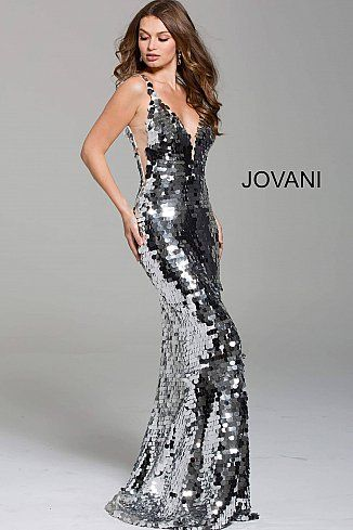 c216fd1d124 Silver Paillette Plunging Neckline Prom Dress 62024
