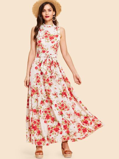 0b5c68959b Bow Tie Neck Fit and Flare Floral Dress -SheIn(Sheinside) | Asamblea ...