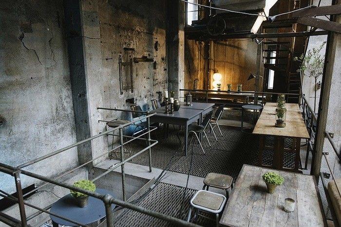 Berlin, Germany... Interior of Restaurant La Soupe Populaire in Berlin, Remodelista #Berlin #Germany #Interior #Restaurant #LaSoupePopulaire #Remodelista #interiors #design #industrial #contemporary #contemporaryart #art #German #food #dinning