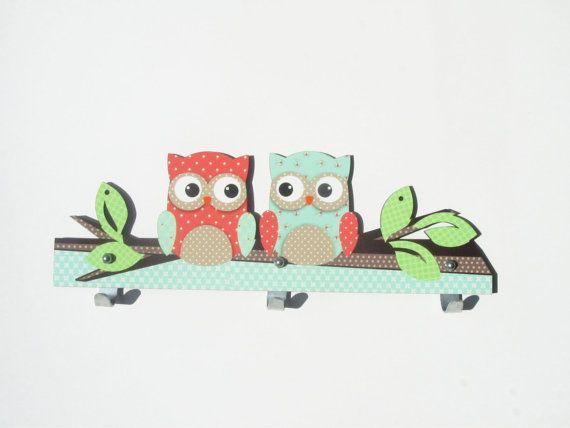 Mint en koraal uil hanger van de muur | Kinderen kamer decoratie | Jas muur opknoping | Kinder coat rack | Woon Decoratie