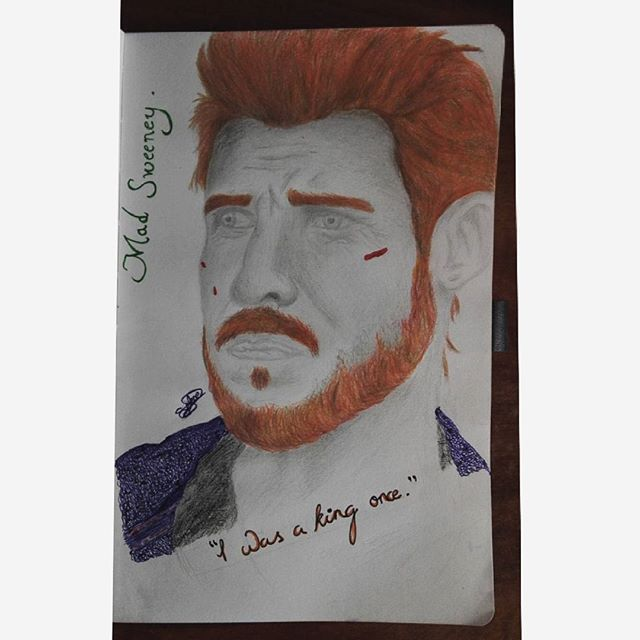 "✏ 🍀 ""I was a king once"" — Mad Sweeney.   #madsweeney #leprechaun #americangods #fanart  #amateurartist #irish #artist #sketchbook #ireland #mythology #quote #sketch #picture #ginger #art #pabloschreiber #book"