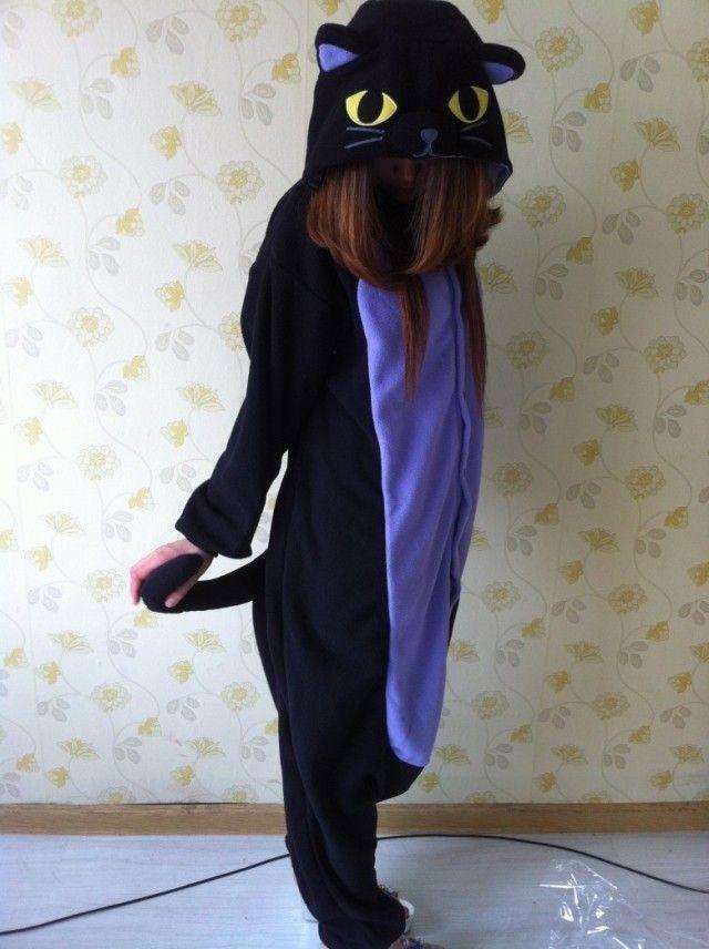 One Piece Animal Midnight Cat Kigurumi Party Pajamas All In One Adult Onesie for Women Men Unisex Black Hooded Romper Sleepwear US $33.98
