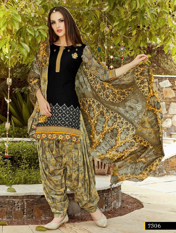 Fashionnow Black Cotton Patiala Salwar Kameez