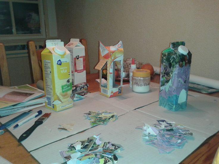 vogelvoerhuisjes maken met melkpakken/ birdfeeder from milkcarton