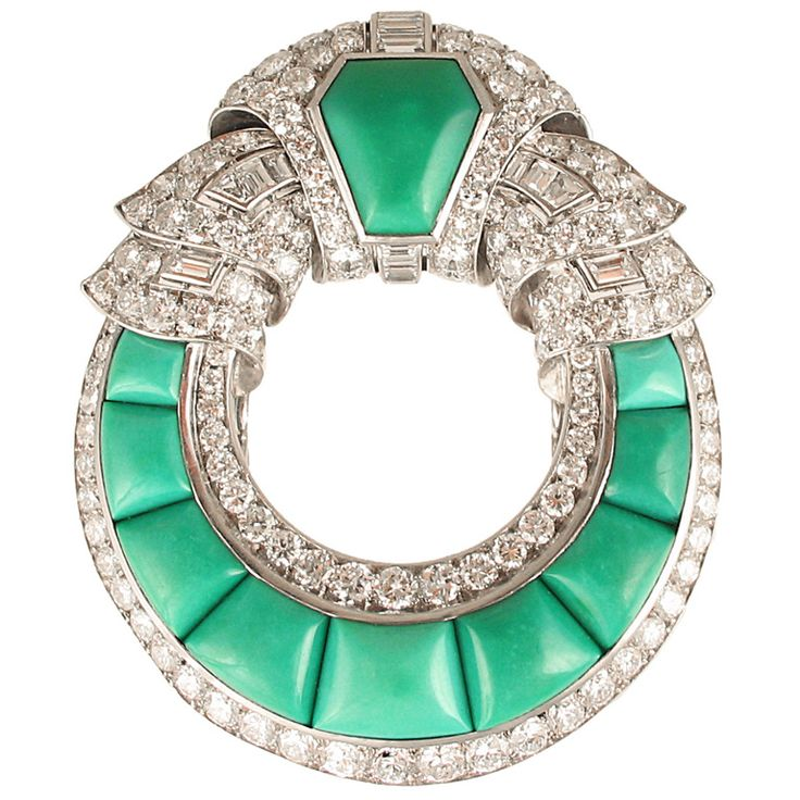 ca. 1925 Art Deco Turquoise and Diamond Brooch