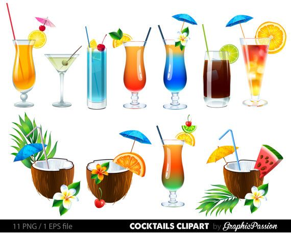 Summer Cocktails Clipart Cocktail Clip Art by GraphicPassion