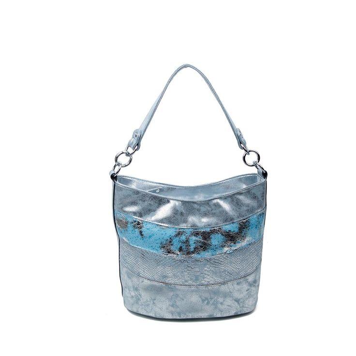 OBC DAMEN TASCHE SHOPPER METALLIC Henkeltasche Schultertasche Umhängetasche Handtasche Beuteltasche Hobo-Bag Handtasche Blau