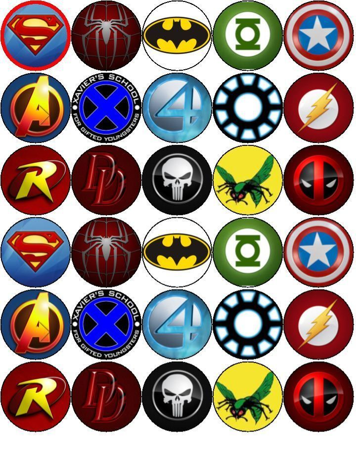 details about superhero logo v1 superman batman etc edible wafer paper toppers cupcakes cake