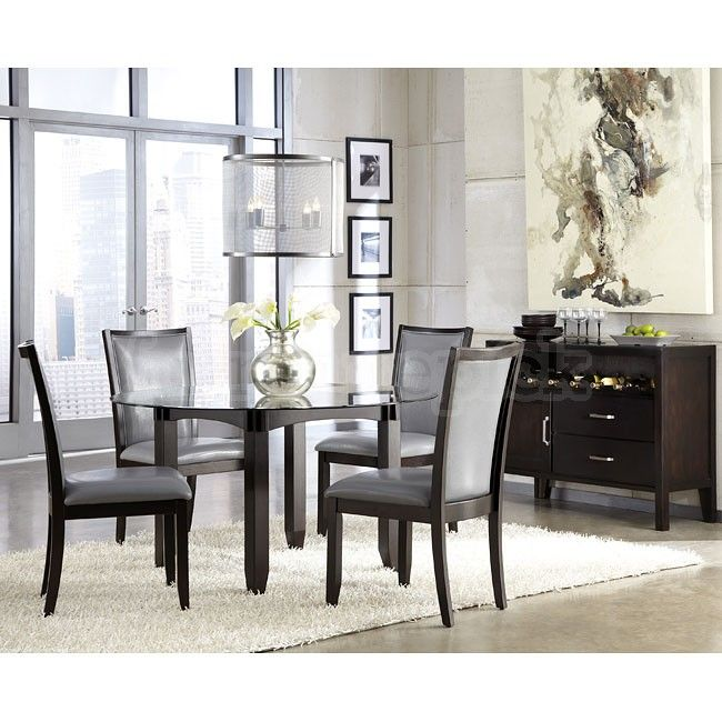 Trishelle Dining Room Set W Grey Chairs