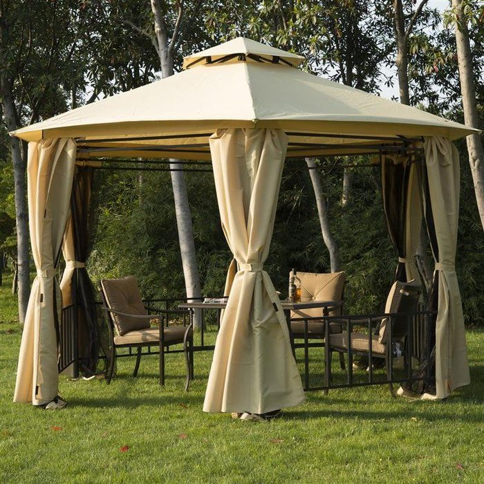 After a day of fun in the sun enjoy some time in the shade with this Outsunny hexagon party gazebo. With a tall 9 foot peak you will be able to stand comfortably without hitting your head while the sturdy steel frame adds a touch of style and durability. A mesh screen can be attached to act as walls to keep out bugs while allowing a gentle breeze to still cool you down. On the other side of the screens are drapes that can cover the entire perimeter of the gazebo to keep out any rain or wind…