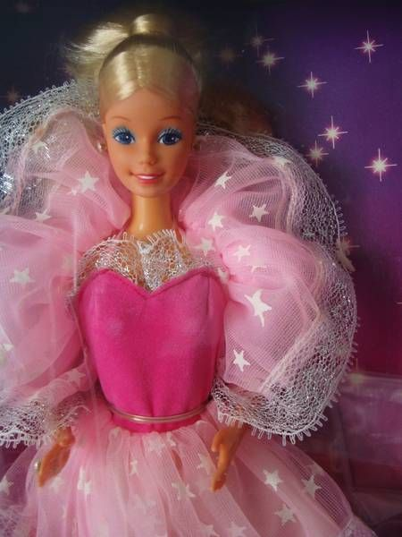 One of the first Barbies I ever owned myself (& did not inherit from sisters) - I loved her so much. The glow in the dark dress was a very new thing back then in the 80s and I was stunned, staring at her all night. I will never forget the Christmas I got her (along with the Arabian horse Prancer)