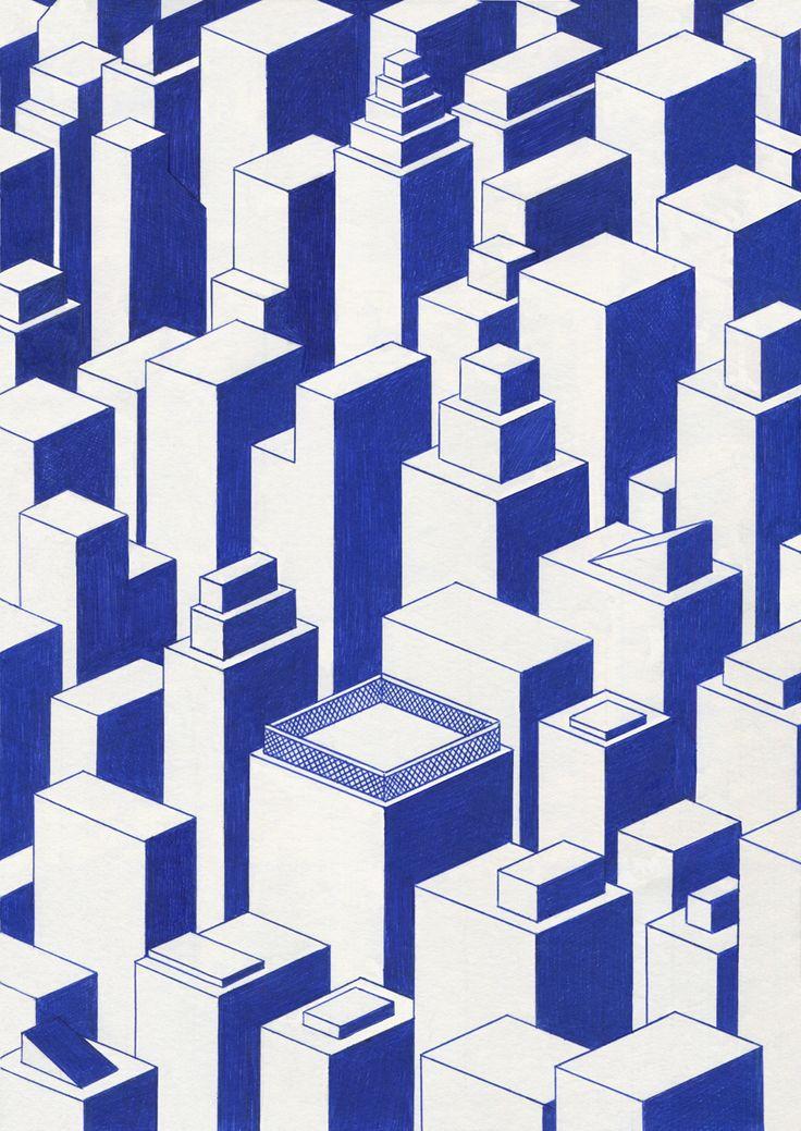 """kevinlucbert: """" City 21 x 29,7cm, ink on paper, Kevin Lucbert, 2015. """""""