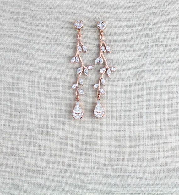 Rose gold earrings Crystal Bridal earrings Bridal jewelry