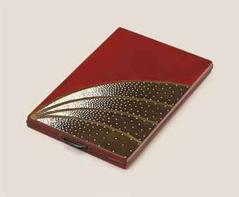 JEAN DUNAND (1877-1942)  A CIGARETTE CASE, CIRCA 1930  lacquered metal, inlaid with eggshell, gilt interior, the reverse lacquered red  5¼ (13.3 cm.) long, 3 in. (7.5 cm.) wide, 3/8 in. (1 cm.) deep  signed in lacquer Jean Dunand and numbered 4107,  Christie's sale n°2651.