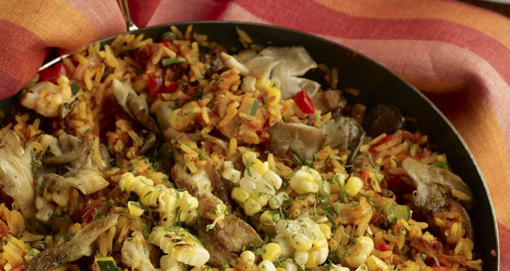 Vegan Paella - Looks YUM! Though I'd do raw soybeans and white beans ...