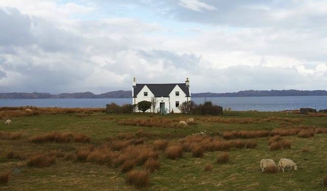The croft called Callakille, at one time a small farm holding, sits on the edge of the water overlooking the sound. Scotland