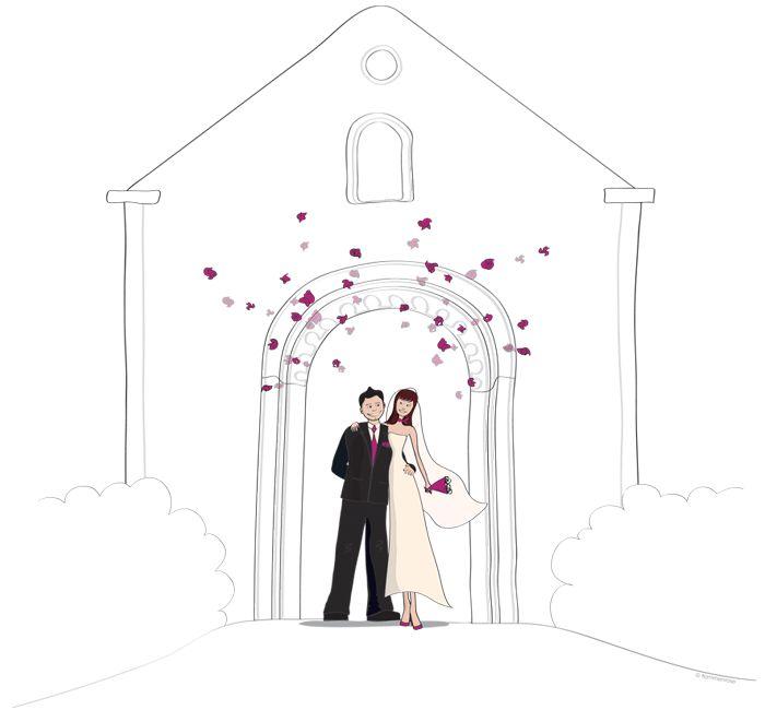 Faire part de mariage illustration pour le livret de messe