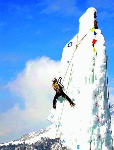 arrampicata con corda su ghiaccio