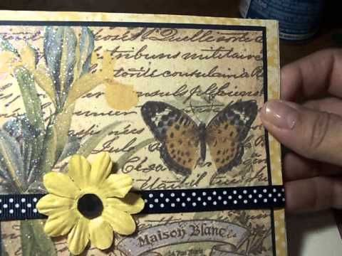 Glittered Napkin Card Tutorial - YouTube