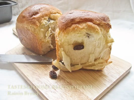 Raisin Bread, these don't dry out quick, but soak the raisins first thing and don't take them out until you're ready to use them