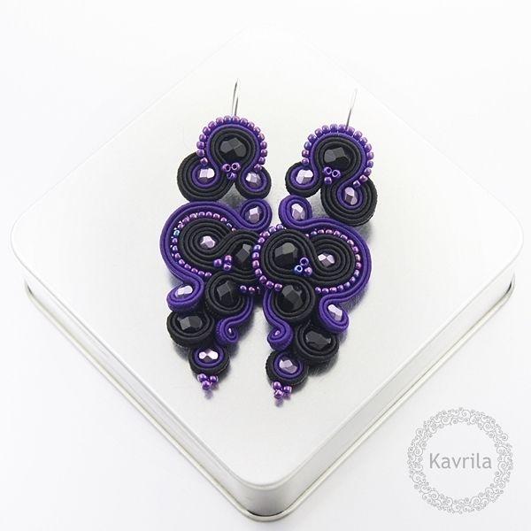 Renire dark violet soutache - kolczyki czarne sutasz KAVRILA #sutasz #kolczyki #wieczorowe #rękodzieło #soutache #handmade #earrings #night #black #darkviolet #kavrila