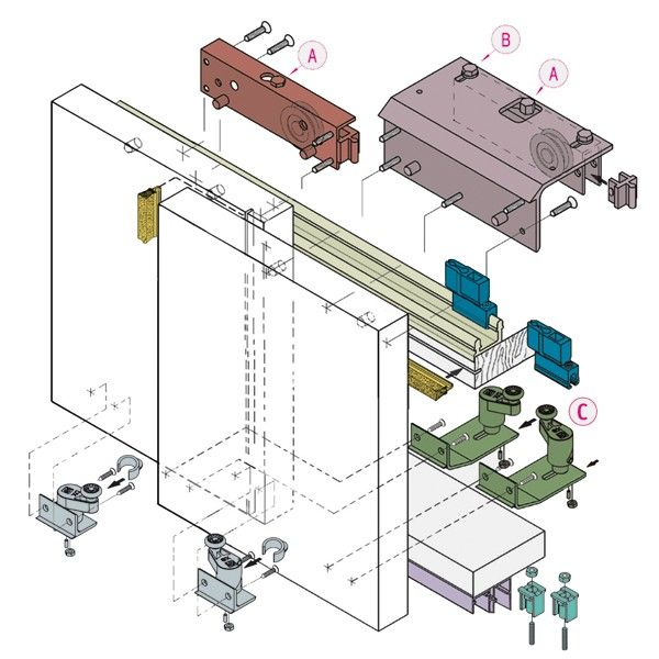 systematiek systeem 0920 Kastdeuren hangend voorliggend.  Systeem speciaal ontwikkeld voor tijdloze schuifdeurkasten. Geen rails of beslag in het zicht. Schuifdeuren van vloer tot plafondhoog zijn mogelijk met dit unieke systeem. Max paneelgewicht 50 Kg per paneel.