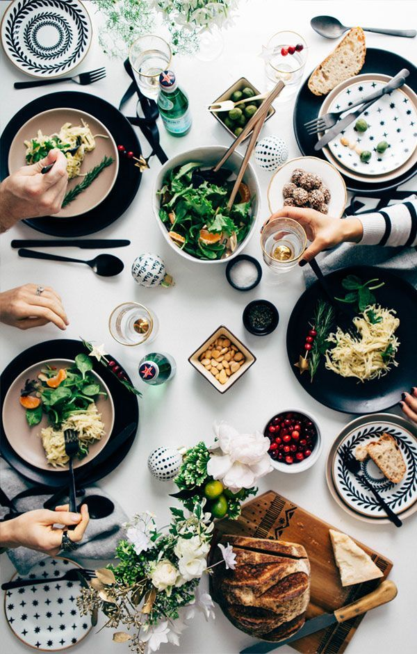 Action overhead food photography.    holiday-tabletop-apt-34-6: