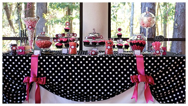 anna's party?: Tables Clothing, Polka Dots, Party'S, Birthday Parties, Candy Bar, Parties Ideas, Parties Tables, Tables Decor, Desserts Tables