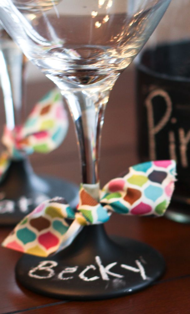 Brilliant! Paint the bottom of wine glasses with chalk paint so every guest can write their names on their wine glass. Might be fun to get cheap glasses from the thrift store to try this. . .. doesn't even have to be wine glasses!!!  :)