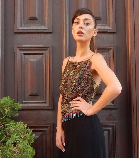 Cache, Vintage Boho Gold-Purple Top, Lachouri, Beads at bottom, Zip at back