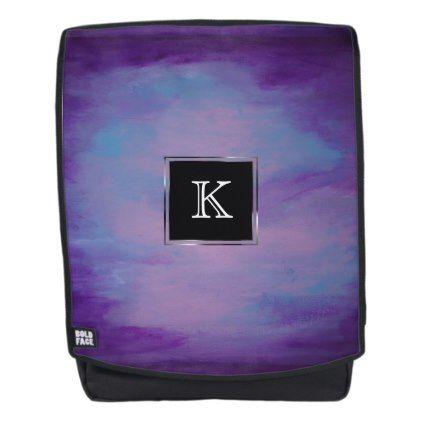 Flighty Style | Monogram Purple Blue Pink Pastel | Backpack - monogram gifts unique custom diy personalize