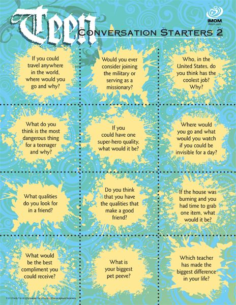 Teen Conversation Starters, I'm cutting these out and putting them in a bowl for dinner conversation. Makes a nice dinner devotional, too.