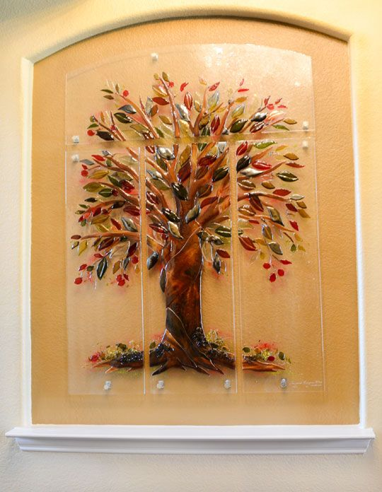 Tree of life fused glass wall mural designer glass Mural glass painting