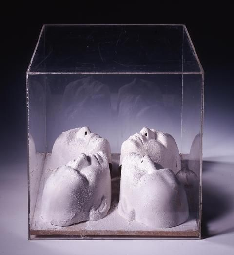 Scultura neve (Snow sculpture),1965 c., objects and artificial snow in a plexiglass case, cm 50x50x50. Archive n. FRB225